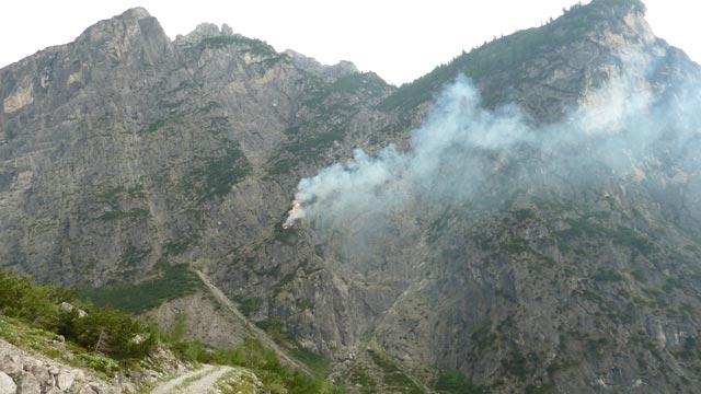 "Waldbrand im Bereich ""Bacher-Wand"""